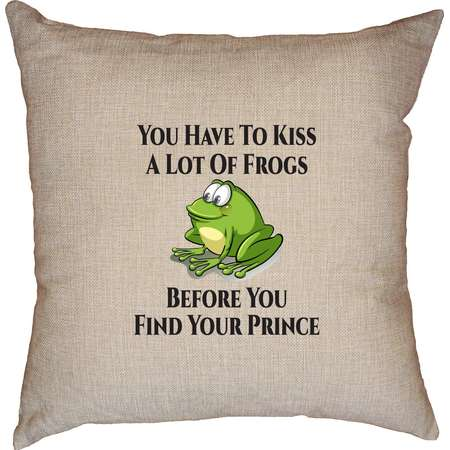 You Have to Kiss a Lot of Frogs Before You Find Your Prince Decorative Linen Throw Cushion Pillow Case with Insert thumb