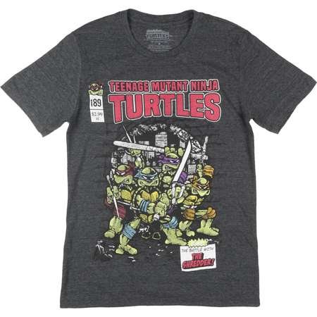 Teenage Mutant Ninja Turtles Short Sleeve Retro Comic T-Shirt TMNT Mens Charcoal thumb