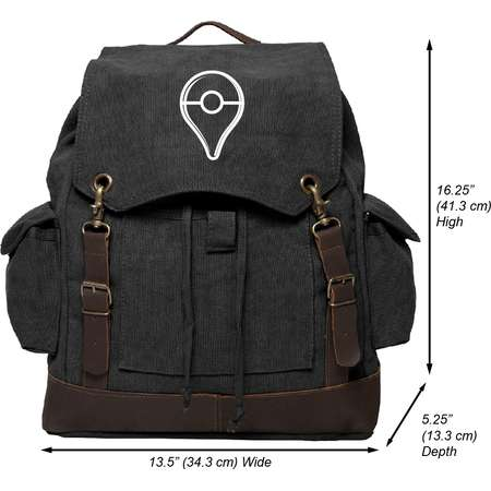Pokemon Go Plus Button Vintage Canvas Rucksack Backpack with Leather Straps thumb