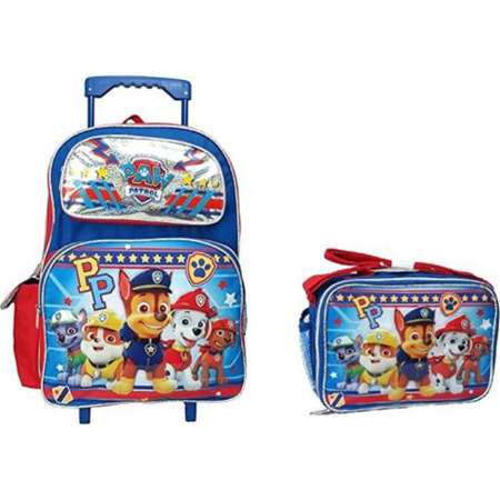 "PP Paw Patrol Set of Deluxe 16"" Rolling Large Backpack and Matching Lunch Bag/Box… thumb"