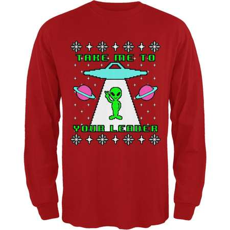 Alien Take Me to Your Leader Ugly Christmas Sweater Mens Long Sleeve T Shirt thumb