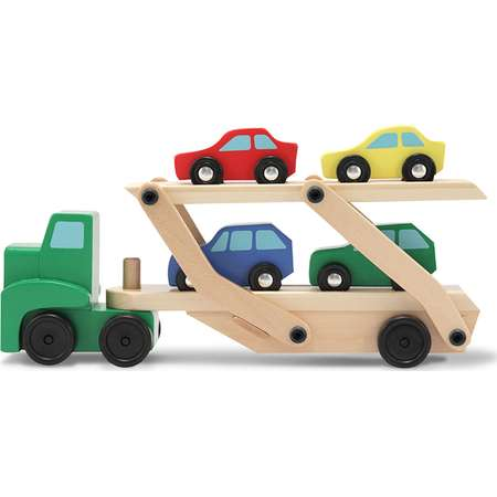 Melissa & Doug Car Carrier Truck and Cars Wooden Toy Set With 1 Truck and 4 Cars thumb
