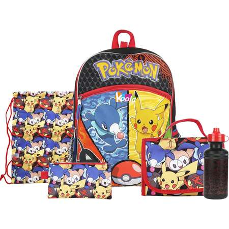 "Pokemon Boys' Pocket 16"" Backpack with Lunch Kit Water Bottle 5 Item set thumb"
