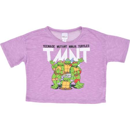 TEENAGE MUTANT NINJA TURTLES TMNT CROP TOP MIDRIFF T-SHIRT HEATHER PURPLE WOMENS thumb