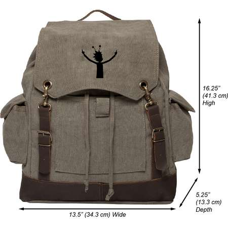 Alien Rick Vintage Canvas Rucksack Backpack with Leather Straps thumb