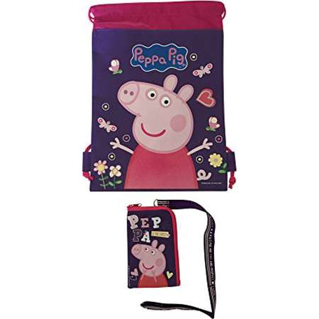 c39939b70391 Peppa Pig Drawstring Backpack Sling Bag   Lanyard Purple thumb