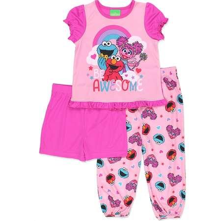 Sesame Street Toddler Girls 3 piece Pajamas Set 21SS258TZS thumb