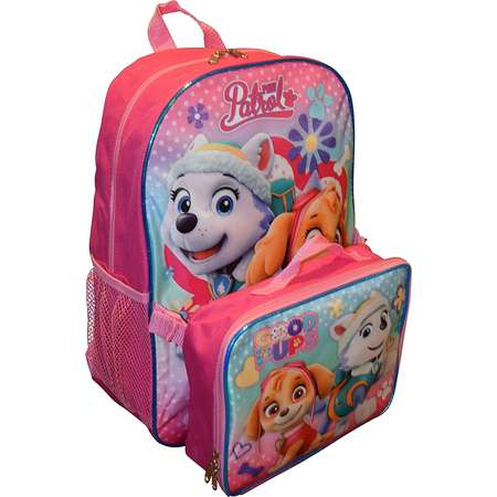 Paw Patrol Girls 15 Inch Backpack with Lunch Kit - Skye and Everest to the Rescue thumb