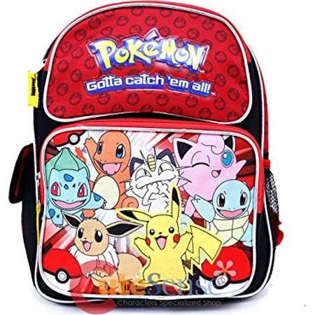 "Small Backpack - Pokemon - Pikachu n Friends Red/Black 12"" Bag 858268 thumb"