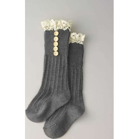 Girls Crochet Button Boot Socks thumb