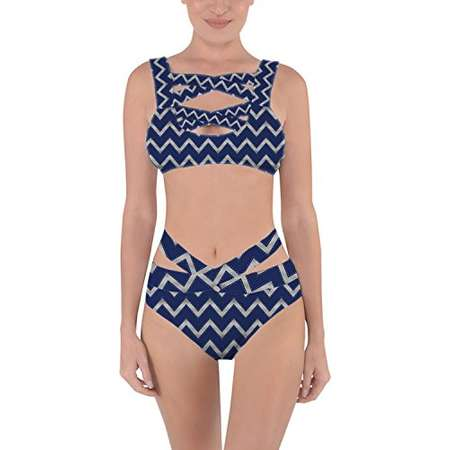 Queen of Cases Harry Potter Inspired House Chevrons Ravenclaw Silver - XS - Criss Cross Bandage Bikini Set thumb