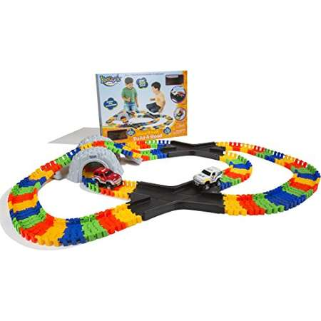 Kidoozie Double X-Track Build-A-Road with Over 11 Feet of Interchangeable, Flexible Track and 2 Battery Operated Cars thumb