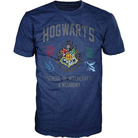 Harry Potter Hogwarts Crest Witchcraft and Wizardry Men's Adult Graphic Tee T-Shirt (Navy, X-Large) thumb