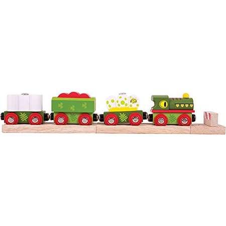 Bigjigs Rail Wooden Dinosaur Railway Engine and Train Cars thumb