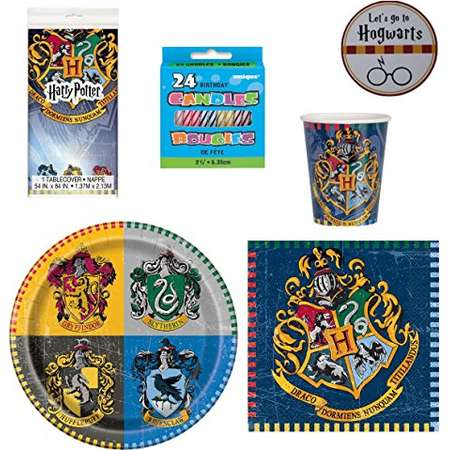 Harry Potter Party Supplies - Plates Cups Napkins Serves 16 With Table Cover Birthday Candles and Exclusive Themed Sticker (Ref03) thumb