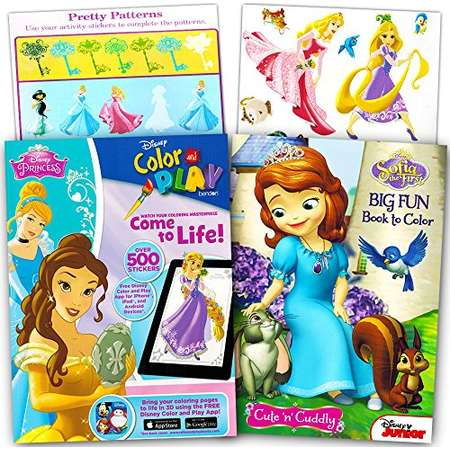 Disney Princess Ultimate Coloring Book And Sticker Set 2 Books With Over 500 Stickers Feature Cinderella Snow White Ariel
