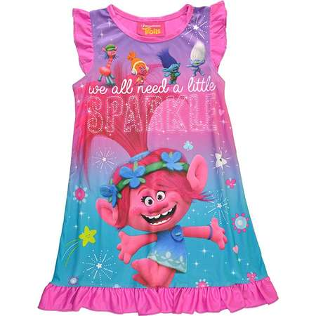 Trolls Little Girls Toddler Charcter Print Berry Pink Pajama Nightgown thumb