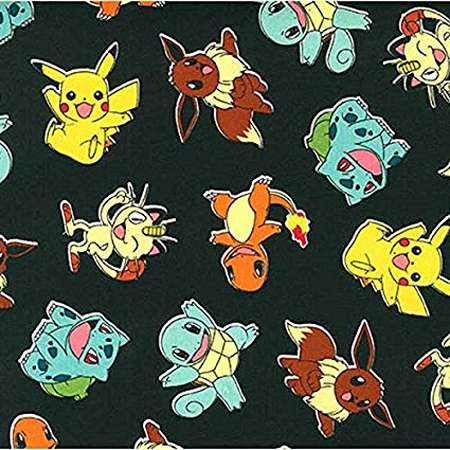 Poke'mon Tossed Jet Fabric By The Yard thumb