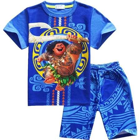 AOVCLKID Maui Boys Cartoon Comfy Loose Fit 2-Piece Shorts Pajama Set Sleepwear Moana thumb