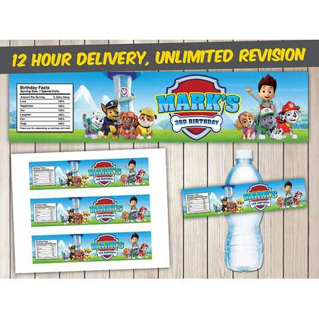 Paw Patrol Bottle Labels, Paw Patrol Water Bottle Labels, Paw Patrol Printable Bottle Wraps, Paw Patrol Bottle Labels Printables thumb