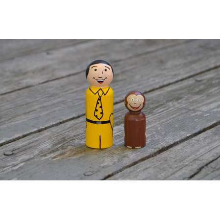 Jumbo Curious George and Man in the Yellow Hat Large peg doll Set thumb