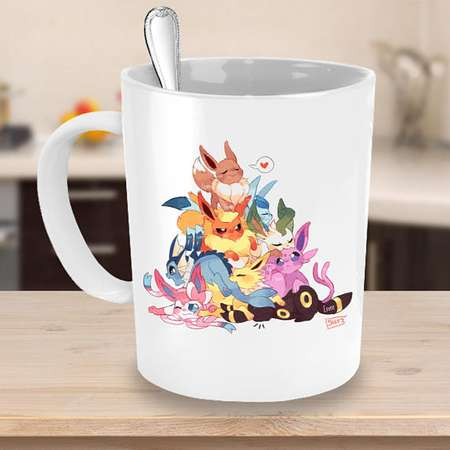 POKEMON EEVEE EVOLUTIONS Mug! Eevee Leafeon Espeon Jolteon Glaceon Vaporeon Umbreon Sylveon Flareon Pokemon Fan Coffee Lover Gift Cup thumb