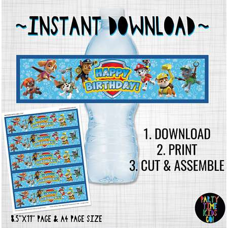 Paw Patrol Drink Bottle Labels Paw Patrol Birthday Party Water Wraps Marshall Chase Zuma Rubble Rocky Skye Everest Tracker INSTANT DOWNLOAD thumb