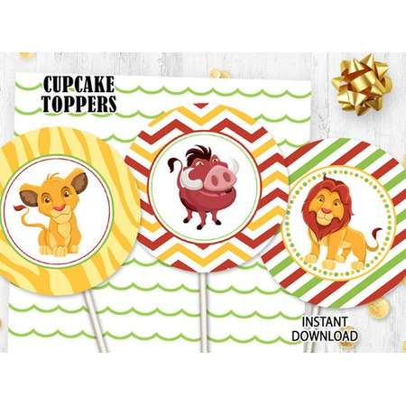 Lion King cupcake toppers Cake toppers Printable digital toppers Lion king birthday thumb