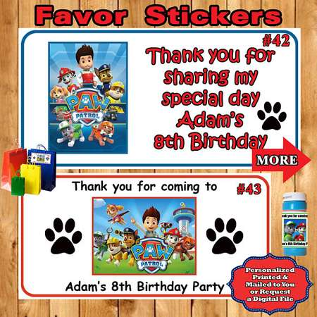 Paw Patrol Birthday Favor Stickers 1 Sheet Water Bottle Favor Bag/Box Labels Food Labels Candy Labels Personalized Custom thumb