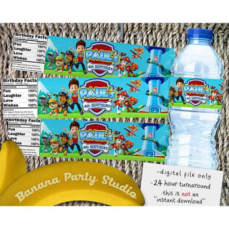 Paw Patrol Water Bottle Labels, Paw Patrol Party Labels, Paw Patrol Birthday Labels, Paw Patrol Printable Supplies, Paw Patrol Favors, Paws thumb