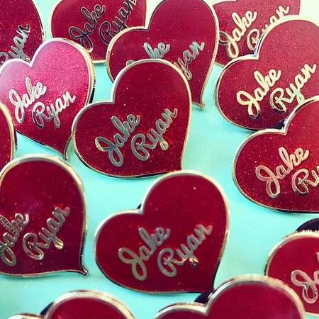 Jake Ryan Sixteen candles 1980s glitter heart hard enamel pin pinback thumb