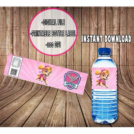 Paw Patrol Bottle Labels Transfer - Paw Patrol Water Bottle Labels Design - DIY Bottle Labels - Digital Files - Instant Download thumb