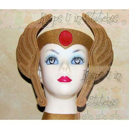 """He-Man Masters of the Universe Inspired SHE-RA CROWN """"Teen/Adult"""" -Lg- Smooth Gold Sparkle Glitter Vinyl-Cosplay-Comic Con-Princess of Power thumb"""