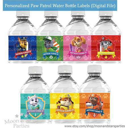 Personalized Paw Patrol Water Bottle Labels, Paw Patrol Labels Paw Patrol Party Labels Paw Patrol Stickers, Paw Patrol Birthday DIGITAL FILE thumb
