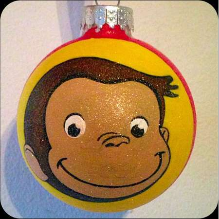 Curious George Hand Painted Ornament, Curious George Gifts, Kids Ornaments, Glass Ball Christmas Ornaments, Christmas Decor, Cartoon Monkey thumb