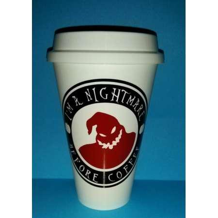 im a nightmare before coffee oogie boogie coffee plastic reusable travel mug nightmare before christmas skellington
