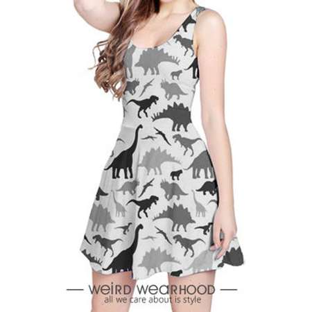 Grey Reversible Sleeveless Party Dress Onepiece with Dinosaur Painting Design (Jurassic Park Edition) thumb