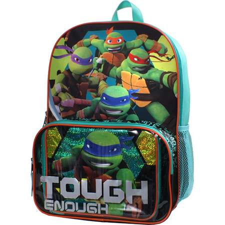 "Kids Teenage Mutant Ninja Turtles Raphael, Michelangelo, Leonardo & Donatello ""Tough Enough"" Backpack & Lunch Box Set thumb"
