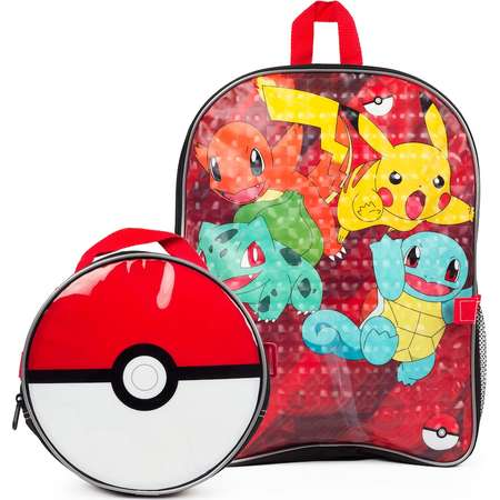 Kids Pokemon Pikachu, Charmander, Bulbasaur & Squirtle Backpack & Poke Ball Lunch Box Set thumb