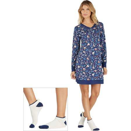 Women's Cuddl Duds Pajamas: Under The Moonlight Sleep Shirt & Socks 2-Piece PJ Set thumb