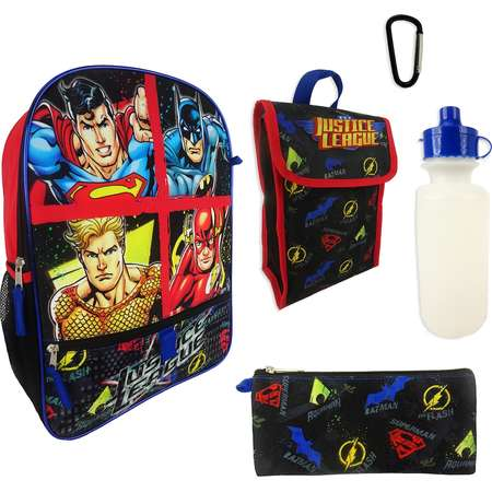 Kids DC Comics Justice League Superman, Batman, Aquaman & The Flash Backpack, Lunchbox, Pencil Case, Water Bottle & Carabiner Set thumb