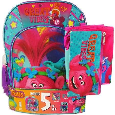 Kids' DreamWorks Trolls Poppy & Branch Backpack, Lunchbox, Cinch Sack, Pencil Case & Water Bottle Set thumb