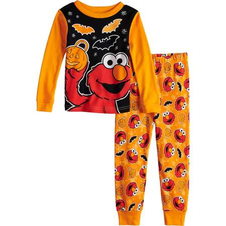 Toddler Boy Sesame Street Elmo Glow-in-the-Dark Halloween Top & Bottoms Pajama Set thumb