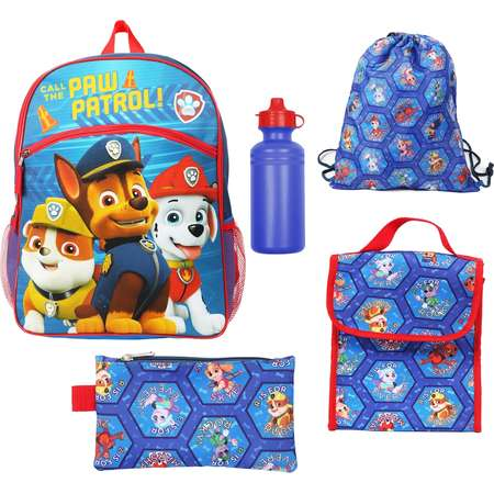 Kids Paw Patrol Chase, Marshall & Rubble Backpack, Lunch Bag, Pencil Case, Water Bottle & Sling Bag Set thumb