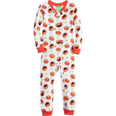Toddler Boy Sesame Street Elmo Printed One-Piece Footless Pajamas thumb