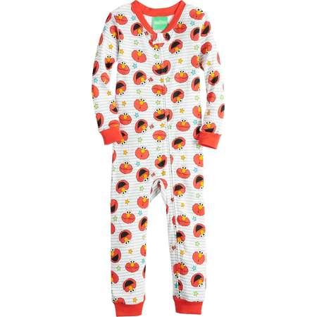 Baby Boy Sesame Street Elmo Printed One-Piece Footless Pajamas thumb