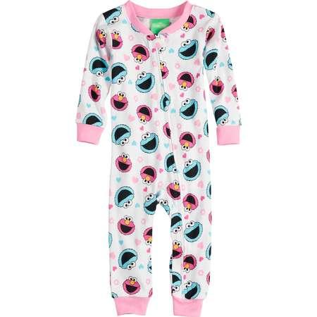 Baby Girl Sesame Street Elmo & Cookie Monster Footless Pajamas thumb