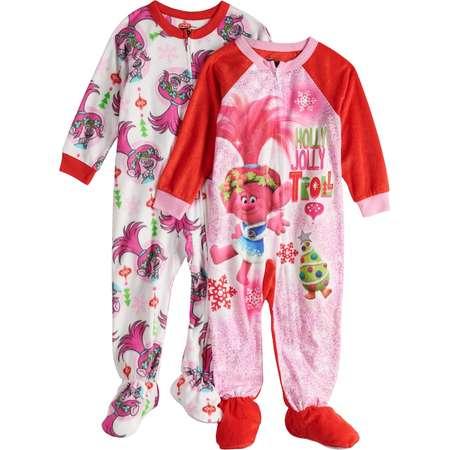 cb2ba3f9fd Toddler Girl 2-pack DreamWorks Trolls Poppy Christmas Fleece Footed Pajamas  thumb
