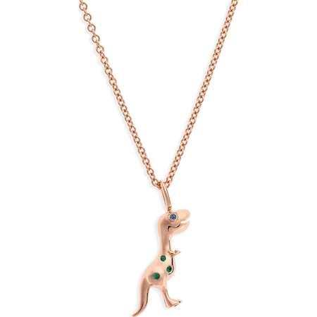 x Jurassic Park 25th Anniversary Baby T-Rex Sapphire & Emerald Pendant Necklace thumb