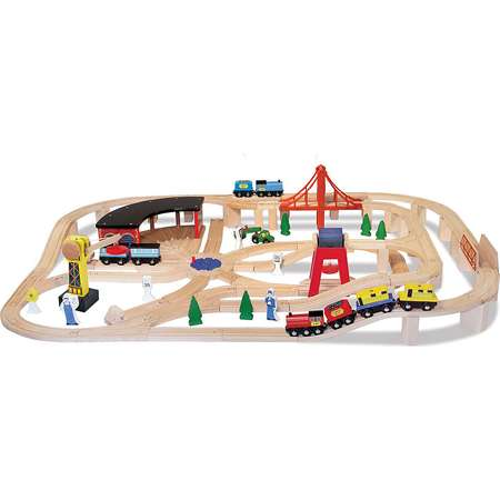 Melissa & Doug®Wooden Railway Set with FREE Wooden Train Cars thumb